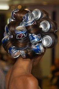 beer can curls.......This is how I use to curl my hair in Michigan.Back in 1970