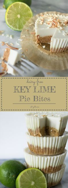Dairy-free and gluten-free single serving key lime pies! Tart lime and sweet, creamy coconut milk filling.