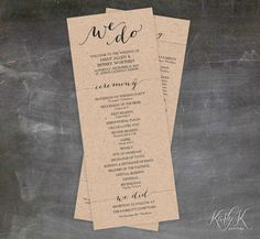 Rustic Wedding Program  Printable Brown Kraft by KarlyKDesignShop