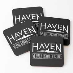 """Haven Trouble White Logo"" Coasters (Set of 4) by HavenDesign 