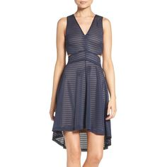 Women's Ali & Jay Shadow Stripe Fit & Flare Dress (£115) ❤ liked on Polyvore featuring dresses, navy, 2 piece dress, navy dress, bias cut dress, slimming dresses and two piece dresses
