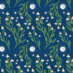 Pattern Thursday Week 9 #chamomile #plants #pattern #PatternThursday #cutpaper #illustration #artstudio #moon