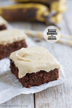 Banana Brownies with Peanut Butter Banana Frosting - Moist, chocolate, banana infused brownies are topped with a peanut butter and banana frosting for a rich and delicious dessert. On Taste and Tell