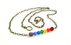 Seven Chakras, Rainbow necklace, brass - Swarovski crystals: https://www.etsy.com/listing/180595654/seven-chakras-rainbow-necklace-brass