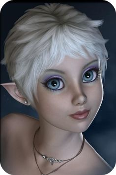 """Silver haired blue eyed fairy   (^.^) Thanks, Pinterest Pinners, for stopping by, viewing, re-pinning,  following my boards.  Have a beautiful day! ^..^ and """"Feel free to share on Pinterest ^..^  #fairytales4kids #elfs #Fantasy  #fairies"""