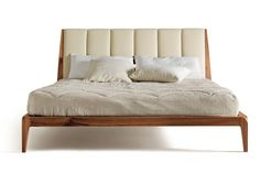 WALNUT DOUBLE BED WITH UPHOLSTERED HEADBOARD P-112 BY DALE ITALIA | DESIGN ARBET DESIGN