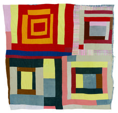 Housetop, four-block variation, by Mary L. Bennett, quilt, cotton and cotton/polyester blend, circa 1965, Gee's Bend exhibit (2006), deYoung Museum, San Francisco