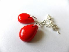 Earrings - Red Polymer Clay Teardrops £5.50