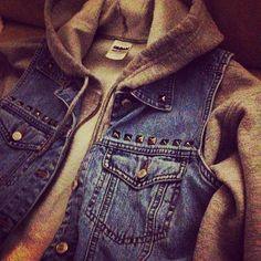 Studded denim vest with hoodie