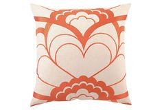 Deco Floral 20x20 Linen Pillow, Orange on OneKingsLane.com  For Bedroom :-)