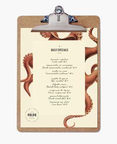 Diseño para Restaurante Polpo de comida Veneciana especializada en mariscos en Canadá. Realizado por Richard Marazzi.