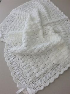 Your place to buy and sell all things handmade : Crochet Baby Blanket Christening Afghan, Handmade Crochet White Ivory Blanket, Satin Ribbon Baby Shower Gift, Newborn Baby Girl Baby Boy Crochet Baby Blanket Free Pattern, Baby Afghan Crochet, Crochet Bebe, Crochet For Boys, Free Crochet, Baby Afghans, Baby Patterns, Crochet Patterns, Baby Shawl