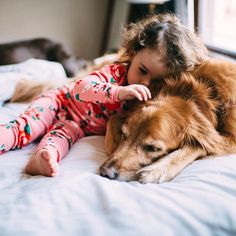 Sweet bonding moment between a girl and her pup