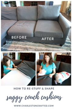 to stuff sofa cushions & give new life to a saggy couch! How to stuff sofa cushions & give new life to a saggy couch! How to stuff sofa cushions & give new life to a saggy couch! Reupholster Furniture, Diy Furniture Couch, Furniture Repair, Furniture Ideas, Furniture Removal, Furniture Logo, Furniture Assembly, Find Furniture, Furniture Design