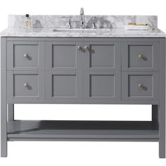 Virtu USA Winterfell 48 in. W x 22 in. D Vanity in Grey with Marble Vanity Top in White with White Basin