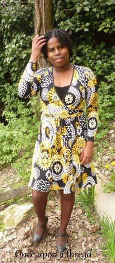 A Black and Yellow Wrap Dress