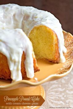 If you're a fan of pound cake this made-from-scratch Pineapple Pound Cake With Cream Cheese Glaze will knock your socks off. Best Pound Cake Recipe, Pound Cake Recipes, Cream Cheese Glaze, Cream Cheese Pound Cake, Just Desserts, Delicious Desserts, Dessert Recipes, Cupcakes, Cupcake Cakes