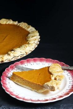 Pumpkin Pie with a decorated crust from Recipes Food and Cooking.