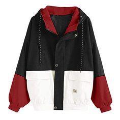 Unisex Color Block Bomber Jacket Boys N Girls Oversize Hoody Corduroy Wind Coat