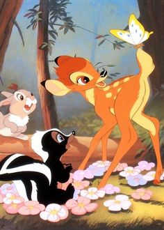 Bambi, Thumper and Flower. Woodland characters from Walt Disney's animated movie, Bambi.