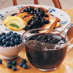 Blueberry Breakfast Sauce recipe from Taste of Home - fantastic!  We use strawberries in place of the blueberries.