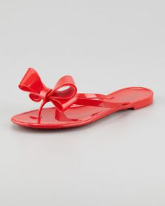 PVC Bow Thong Sandal, Black - Neiman Marcus