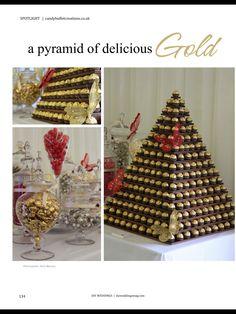 Make w brigadeiros -Gold chocolate pyramid. I would do this with chocolates, Styrofoam and toothpicks Wedding 2017, Trendy Wedding, Dream Wedding, Egyptian Themed Party, Party Planning, Wedding Planning, Egyptian Wedding, Deco Table, Wedding Decorations