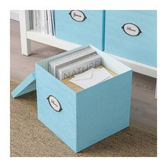 IKEA KVARNVIK Storage box with lid Blue 30 x 30 x 30 cm You can decide which side of the box you want to place the handle with label holder on. Storage Boxes With Lids, Small Storage, Storage Chest, Recycling Process, Chiffon, Waste Paper, Box With Lid, Living Room Designs, Toy Chest