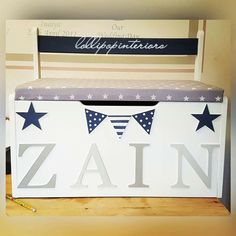 Bespoke personalised solid pine toy boxes handmade by me, designed to your specification. Upcycling and restoring Commissions welcome