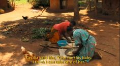 """One of the main character's in """"Africa's Daughters,"""" Hoctavia grinds cassava with her Aunt Cecilia who raised her after she was orphaned."""