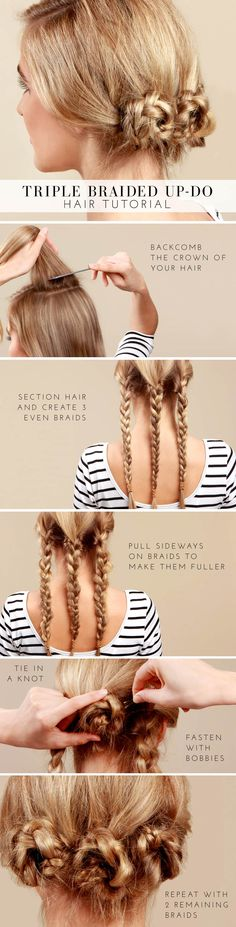This triple braided bun tutorial is the perfect way to tame your wild tresses! With three simple knotted braids at the nape of the neck, this look easily transitions from office to date night. Keep it sleek or amp up the volume with a little teasing for a perfectly tousled up-do that's ready in minutes!