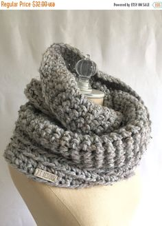 FLASH SALE WEEKEND Infinity scarf ~ chunky wool blend ~ hand knit ~ double loop ~ style #1022 shown in Gray Heather ~ choose your own color