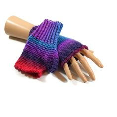 Blue and Purple Gloves Ladies Crocheted by Bluebirdsanddaisies