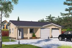 Projekt G2-4.12a Bungalow House Plans, Bungalow House Design, Country Modern Home, Facade House, Home Design Plans, Building Plans, Wood Construction, Planer, Sweet Home