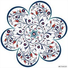 Vektor: vector traditional ottoman tulip spiral design