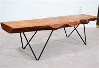 Mid Century Plank Wood and Wrought Iron Table by Bill Hoisington | nyshowplace.com