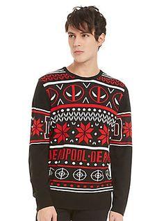 Marvel Deadpool Fair Isle Sweater, BLACK
