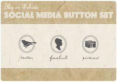 Custom Color  3 Blog or Website VINTAGE by StarlingMemory on Etsy, $15.00 Vintage Floral, Etsy Vintage, Social Media Buttons, Web Design, Graphic Design, Marketing, Portfolio Design, Blog, Website