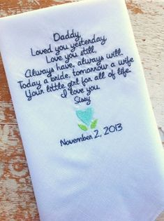 custom embroidered handkerchief wedding dad - Google Search