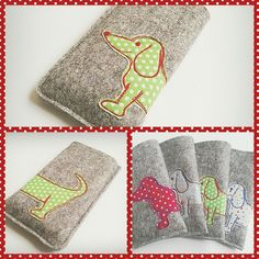 """Children seam"" creates this lovely little mobile phone case with a spotty daschund applique! fab"