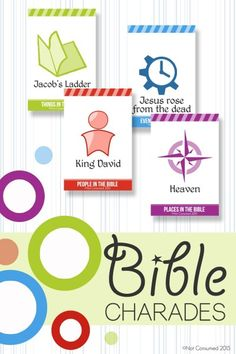 Our family loves charades, especially Bible charades, but we often have a hard time thinking of things to act out. These Bible charades printable cards are sure to be a crowd pleaser! by janis Pictionary For Kids, Charades Game, Bible Games, Bible Activities, Bible Resources, Sunday School Games, Sunday School Crafts, Trivia, Kids Church