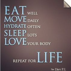Eat, Move, Hydrate, Sleep, Love Repeat For Life