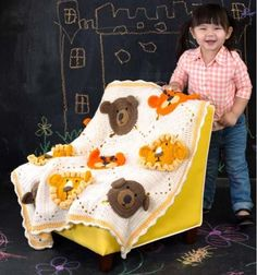 This Lion, Tiger and Bear Crochet Blanket is a FREE Crochet Pattern that you'll to make and it will make a gorgeous gift for that special little one. Don't miss the Teddy Granny Squares and Monkey Face Blanket too! Crochet Lion, Baby Afghan Crochet, Manta Crochet, Baby Afghans, Crochet Granny, Crochet Animals, Crochet For Kids, Free Crochet, Baby Blankets