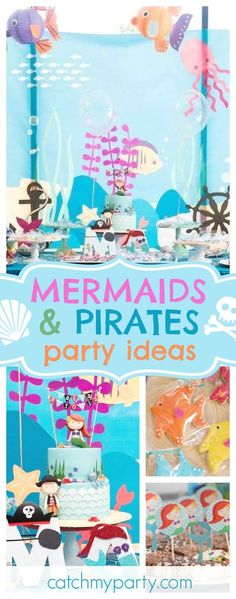 Check out this awesome Mermaids and Pirates birthday party! The birthday is so much fun!! See more party ideas and share yours at CatchMyParty.com