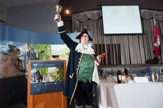 Town Crier opens Celebrity Luncheon sponsored by Grape Growers of Ontario, Meridian Credit Union and Friends of the Greenbelt Foundation kicks off the Niagara Wine Festival September 2013 in St Catharines, ON