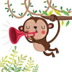 Monkey playing the trumpet © Gina Maldonado 2015 gigilikestodraw.blogspot.com