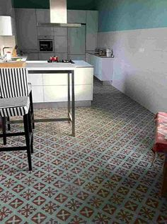 Carreaux Ciment Design Ideas, Pictures, Remodel and Decor Living Room And Kitchen Design, Living Room Designs, Hearth Tiles, Patio Tiles, Cement Tiles, Mediterranean Tile, Patchwork Tiles, Victorian Tiles, Black Interior Doors