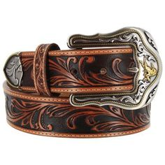 Tony Lama Mens Floral Leather Belt