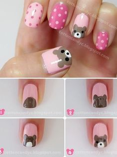 Teddy Bear and Polka Dots Nail Art Tutorial - Animal Nail Art Dot Nail Art, Polka Dot Nails, Nail Art Diy, Diy Nails, Cute Nails, Polka Dots, How To Nail Art, Spring Nail Art, Spring Nails