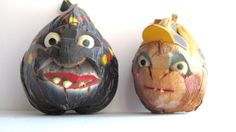 Vintage Coconut Pirate Head Collection Tiki by MyKnickKnackStore, $22.00